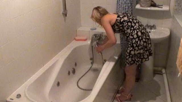 Angelic Blonde Novice Voyeur Cutie Marina Washing Sarah's Saddlebag In Tub Bathtub Within The Undercover Agent Digicam