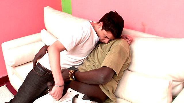 Wonderful Brunette Homosexual Naza Giving Handjob To Canu's Inconceivable Black Short Arm At The Sofa