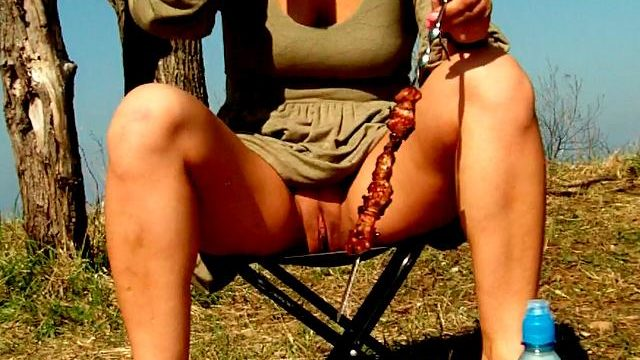Seductive Dark-haired Unexperienced Wifey Dasha Showing Pinkish Cockle Upskirt And Gulping Beer At A Picnic