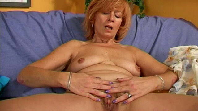 Nasty Granny Girl Stripping Panties And Taking Part In Together With Her Furry Pussy On The Sofa