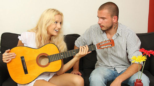 Guitar Toying Step-brother Plumbs His Gf