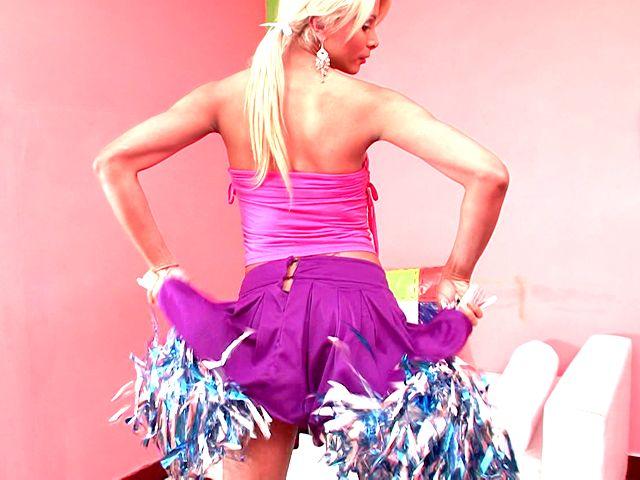 Juicy Towheaded Ladyboy Cheerleader Itiel Dancing And Demonstrating Bod Upskirt
