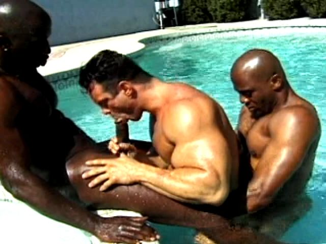2 Nasty And Muscle Bodied Ebony Homos Pummeling A Milky Man Within The Pool