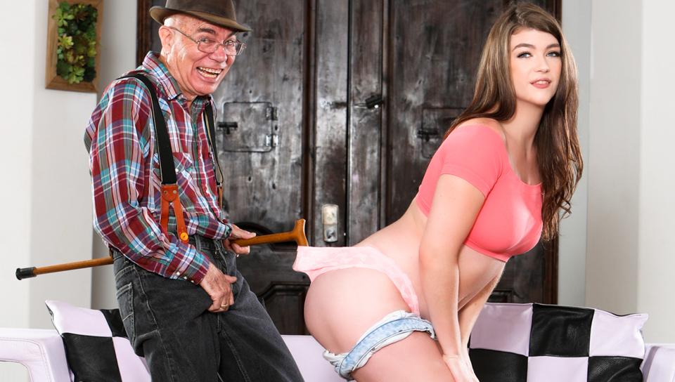 Teenage Displays Enjoy To Elderly Guy