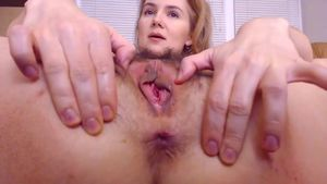 Unshaved Labia And Wide Open Bung Getting Opened Up
